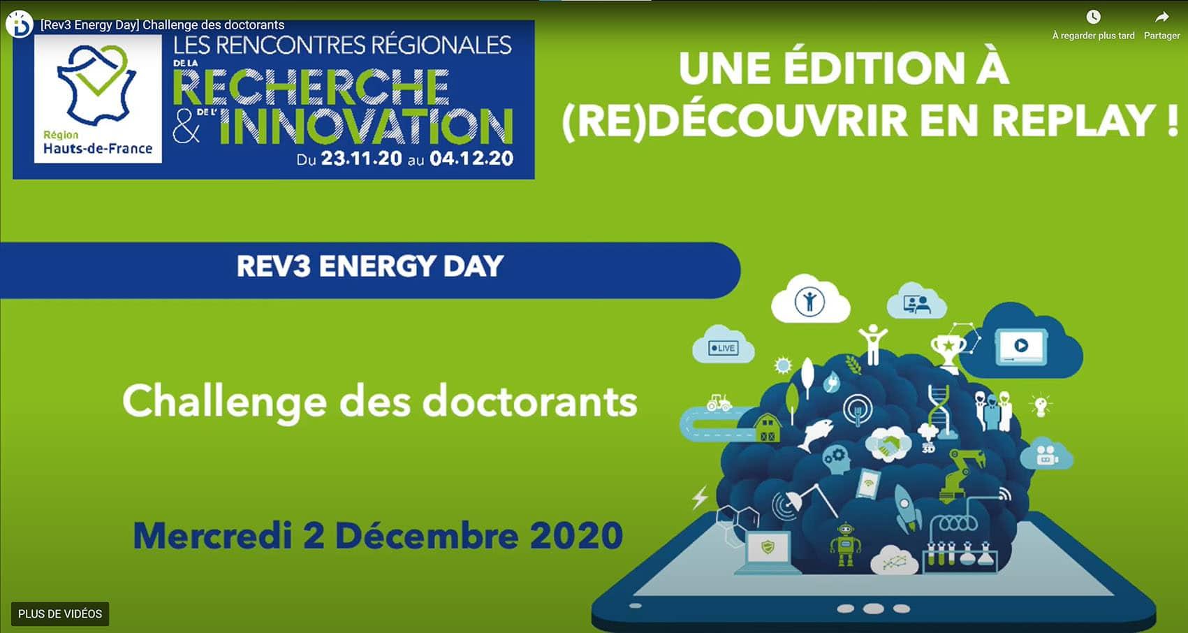 Un doctorant du LGCgE remporte le Grand Prix du  du challenge Rev 3 Energy Day